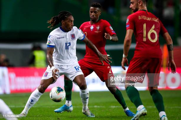 Gerson Rodrigues of Luxembourg Nelson Semedo of Portugal during the UEFA Nations league match between Portugal v Luxembourg at the Estádio José...