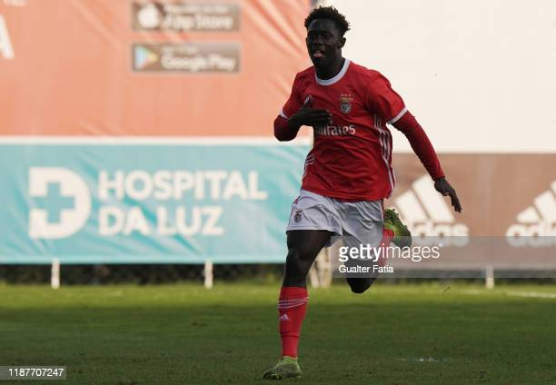 Gerson Sousa of SL Benfica U19 celebrates after scoring a goal during the UEFA Youth League Group G match between SL Benfica U19 and Zenit St....