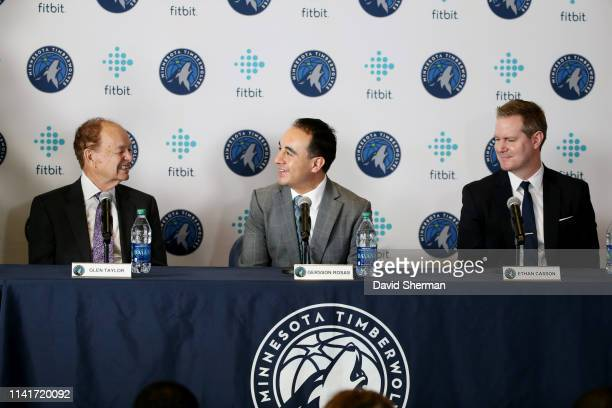 Gersson Rosas newly appointed Minnesota Timberwolves President of Basketball Operations is introduced to the media by team owner Glen Taylor and...