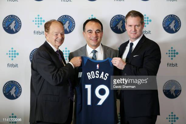 Gersson Rosas newly appointed Minnesota Timberwolves President of Basketball Operations poses for a photo with team owner Glen Taylor and Chief...