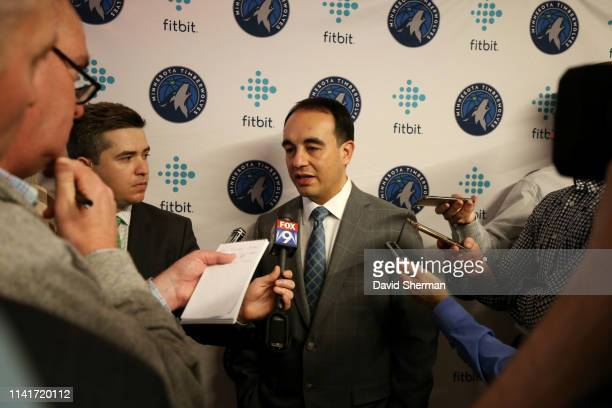 Gersson Rosas newly appointed Minnesota Timberwolves President of Basketball Operations speaks to the media on May 6 2019 at Target Center in...