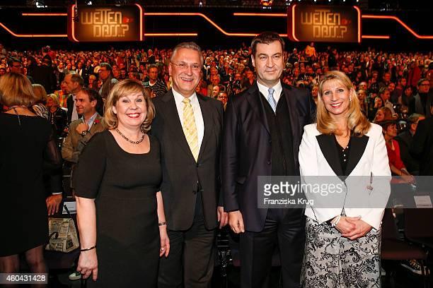 Gerswid Herrmann Joachim Herrmann Markus Soeder and Karin Baumueller attend the last broadcast of the 'Wetten dass TV show' on December 13 2014 in...
