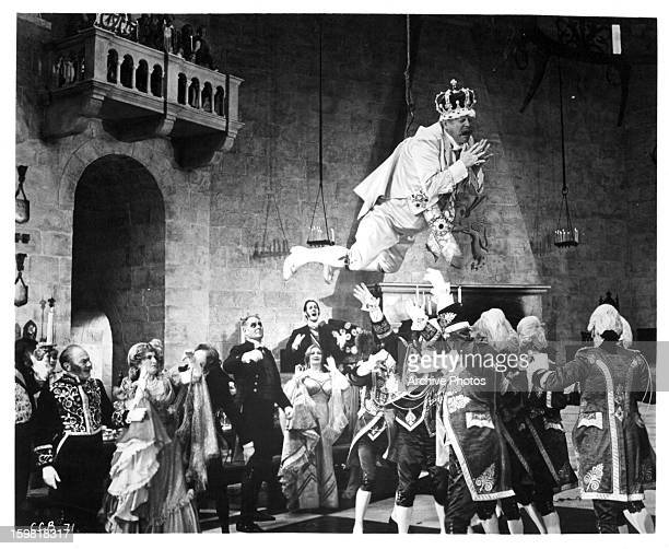 Gert Fröbe is lifted into the air in a scene from the film 'Chitty Chitty Bang Bang' 1968
