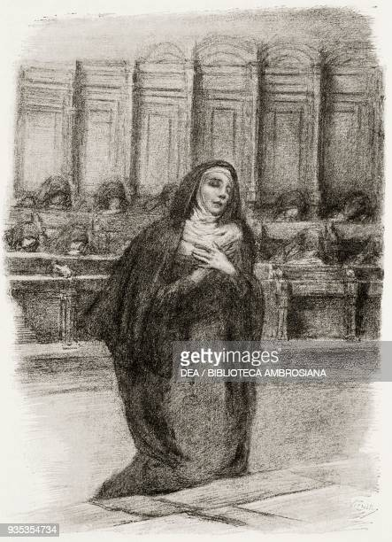 Gertrude becoming a nun, illustration by Gaetano Previati , from The Betrothed, A Milanese story of the 17th century, History of the Column of...