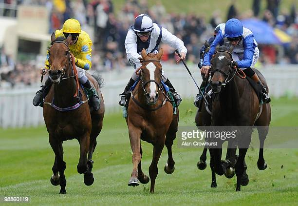 Gertrude Bell and William Buick win The Weatherbys Bank Cheshire Oaks from Acquainted and Richard Hughes at Chester racecourse on May 05 2010 in...