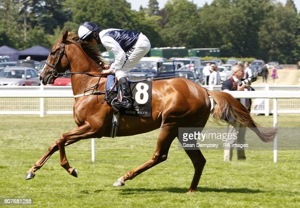 Gertrude Bell ridden by William Buick going to post during Ladies day at Royal Ascot