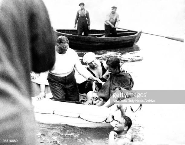 Gertrude Ederle the American girl swimmer gave up her attempt to swim the Englis Channel eight miles fromt he English Coast Photo shows Miss Ederle...