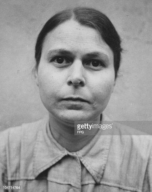 Gertrude Fiest, a guard at the Bergen-Belsen concentration camp, Germany, circa 1945. Charged with war crimes and crimes against humanity, Fiest is...