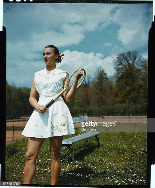 Gertrude 'Gorgeous Gussie' Moran Professional Tennis player is shown