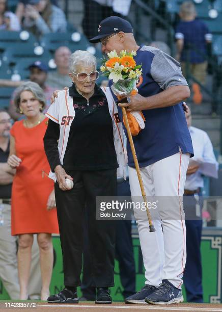Gertrude Greenfield Houston Astros pitching coach Brent Strom's motherinlaw threw the Astros' first pitch on her 101st birthday at Minute Maid Park...