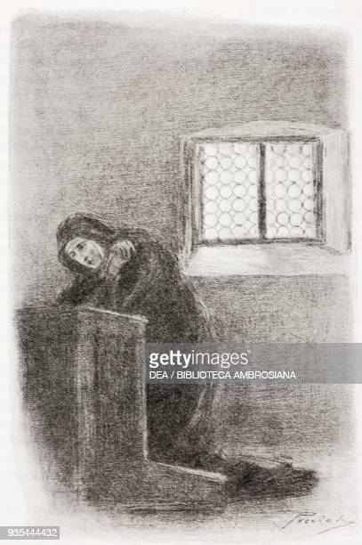 Gertrude in prayer after being locked up in a convent in Milan illustration by Gaetano Previati from The Betrothed A Milanese story of the 17th...