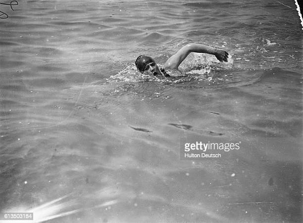 Gertrude in training for her swim across the English channel