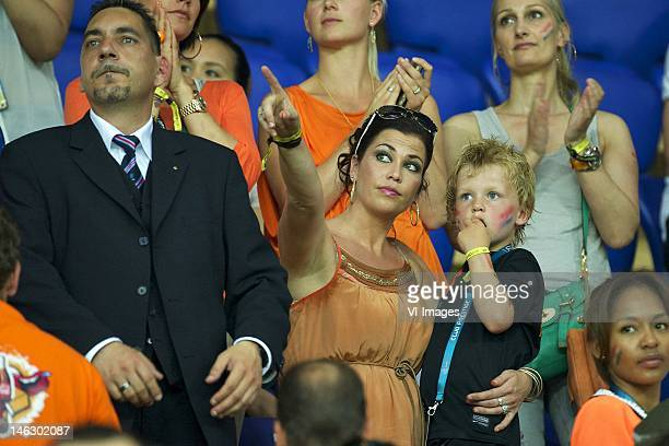 Gertrude Kuyt and son during the UEFA EURO 2012 match between Netherlands and Germany at the Metalist Stadium on June 13 2012 in Kharkov Ukraine