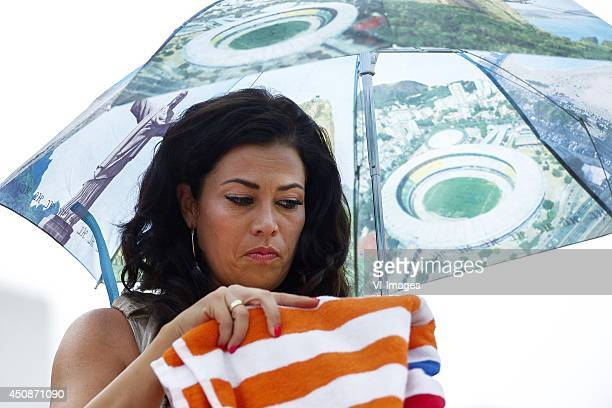Gertrude Kuyt wife of Dirk Kuyt of Holland during a training session of The Netherlands on June 19 2014 at Estadio da Gavea in Rio de Janeiro Brazil