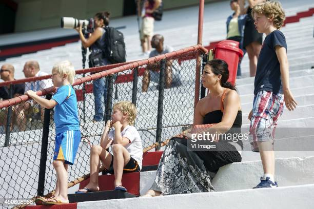 Gertrude Kuyt wife of Dirk Kuyt of Holland with kids during a training session of The Netherlands on June 14 2014 at Estadio da Gavea in Rio de...