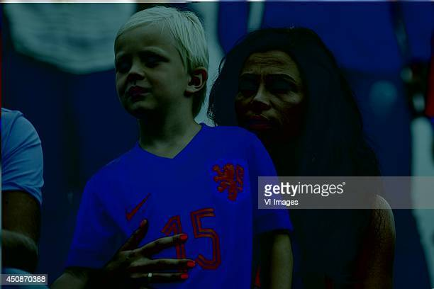 Gertrude Kuyt wife of Dirk Kuyt of Holland with son during a training session of The Netherlands on June 19 2014 at Estadio da Gavea in Rio de...