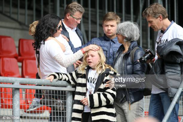 Gertrude Kuyt with childrenduring the Dutch Eredivisie match between sbv Excelsior Rotterdam and Feyenoord Rotterdam at Van Donge De Roo stadium on...