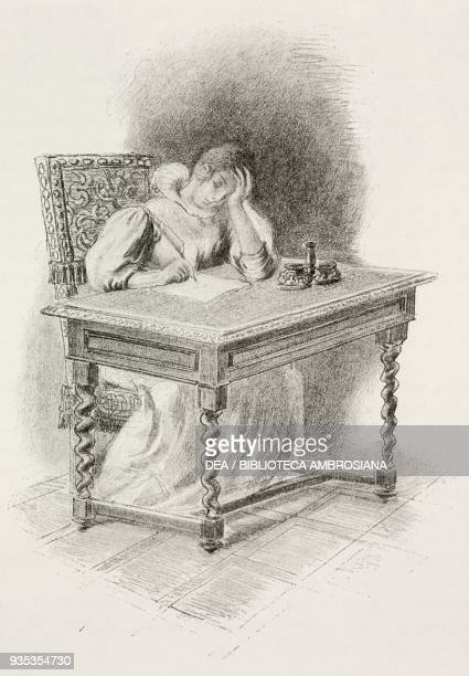 Gertrude writing a letter of apology to her father in which she says she is prepared to do whatever he wants, illustration by Gaetano Previati , from...