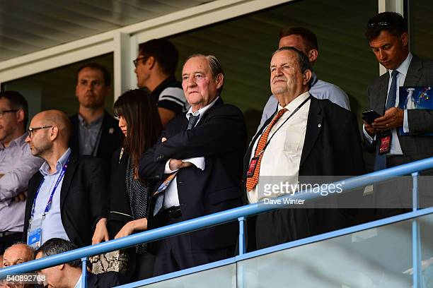 Gervais Martel president of Lens football club with Fernand Duchaussoy former president of the French Football Federation during the UEFA EURO 2016...