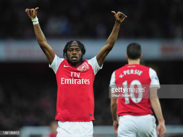 Gervinho of Arsenal celebrates after scoring during the Barclays Premier League match between Arsenal and Wolverhampton Wanderers at the Emirates...