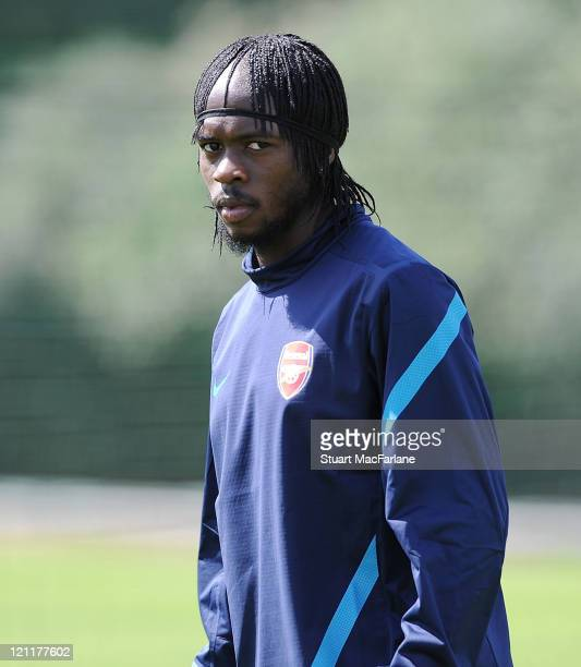 Gervinho of Arsenal during a training session ahead of their UEFA Champions League Qualifying first leg match against Udinese on August 15 2011 in St...