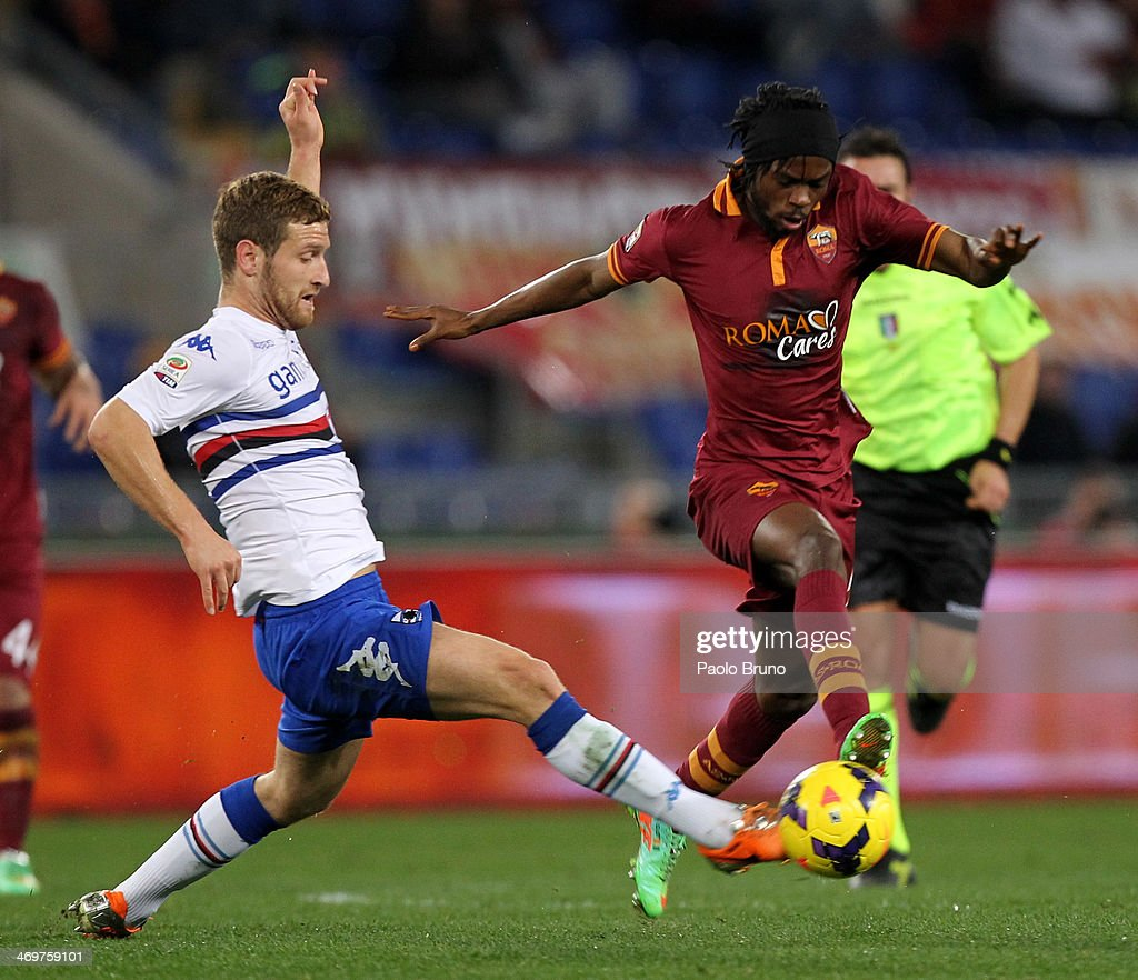 Gervinho (R) of AS Roma competes for the ball with Skhodran Mustafi of UC Sampdoria during the Serie A match between AS Roma and UC Sampdoria at Stadio Olimpico on February 16, 2014 in Rome, Italy.