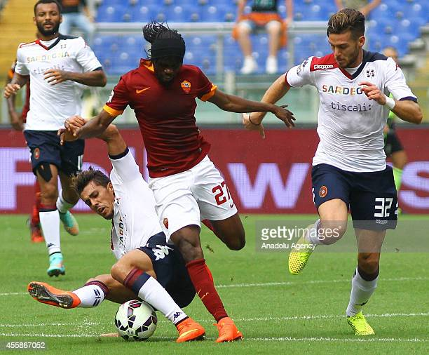 Gervinho of AS Roma in action against Cappitelli of Cagliari Calcio during the Serie A match between AS Roma and Cagliari Calcio at Stadio Olimpico...
