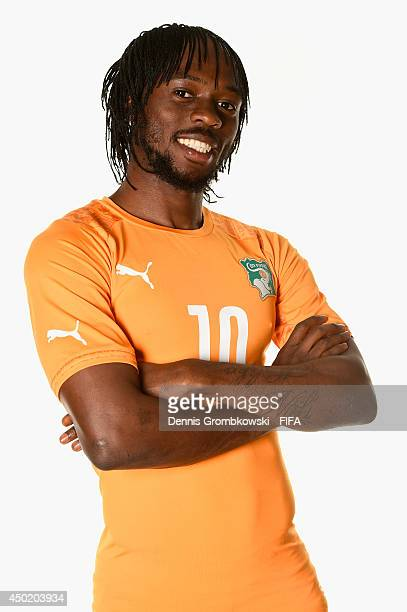 Gervinho of Cote d'Ivore during the Official FIFA World Cup 2014 portrait session on June 6, 2014 in Monte Siao, Brazil.