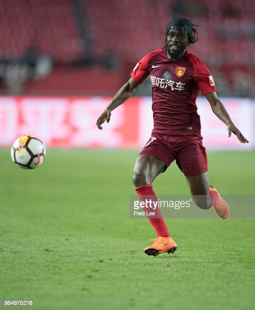 Gervinho of Hebei China Fortune in action during 2018 Chinese Super League match between Hebei China Fortune adn Henan Jianye at Langfang Sports...