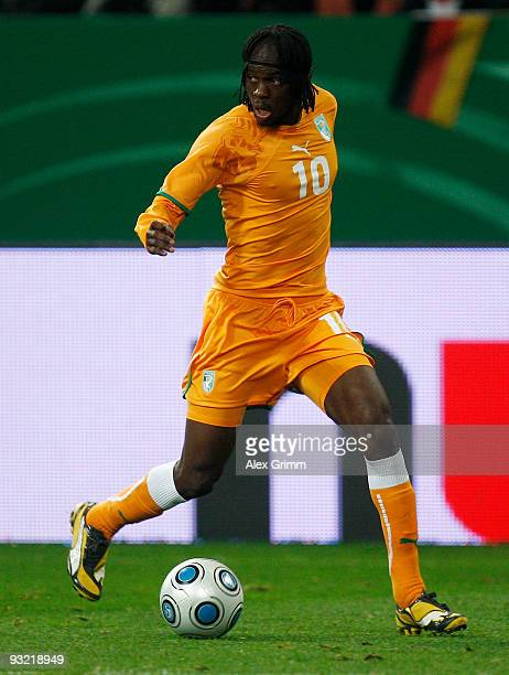 Gervinho of Ivory Coast runs with the ball during the International friendly match between Germany and the Ivory Coast at the Schalke Arena on...