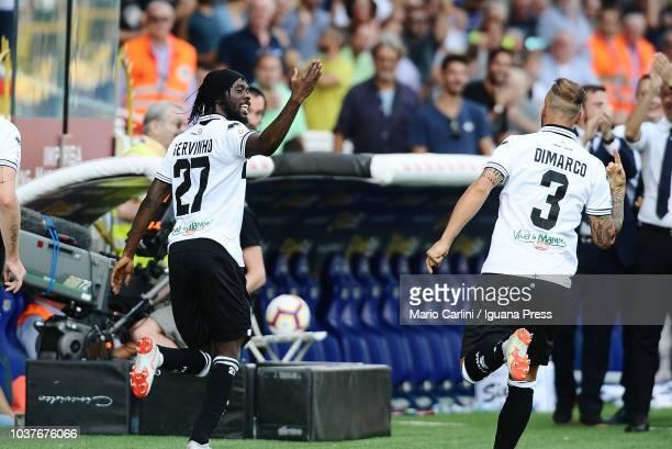 Gervinho of Parma Calcio celebrates after scoring his team's second goal during the serie A match between Parma Calcio and Cagliari at Stadio Ennio...