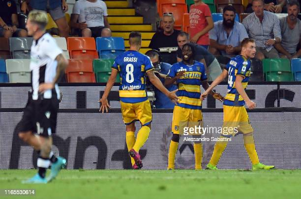Gervinho of Parma Calcio celebrates after scoring the 11 goal during the Serie A match between Udinese Calcio and Parma Calcio at Stadio Friuli on...
