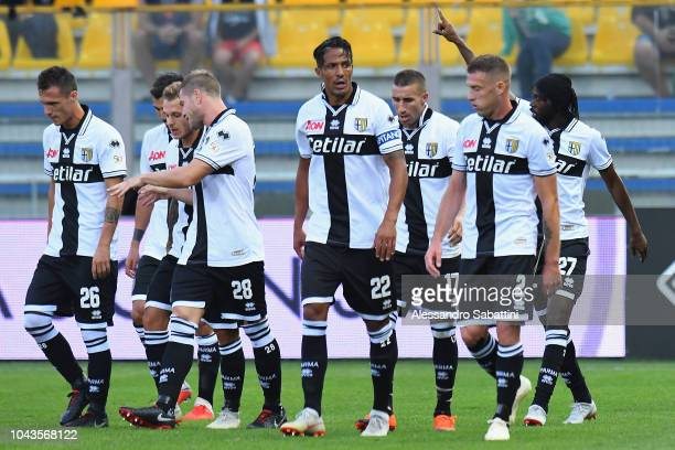 Gervinho of Parma Calcio celebrates after scoring the opening goal during the Serie A match between Parma Calcio and Empoli at Stadio Ennio Tardini...
