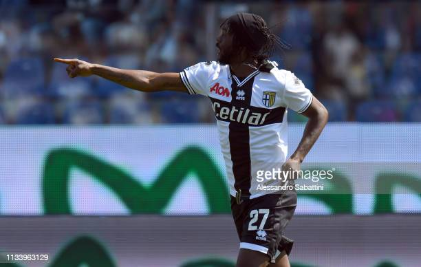 Gervinho of Parma Calcio celebrates after scoring the opening goal during the Serie A match between Parma Calcio and Atalanta BC at Stadio Ennio...
