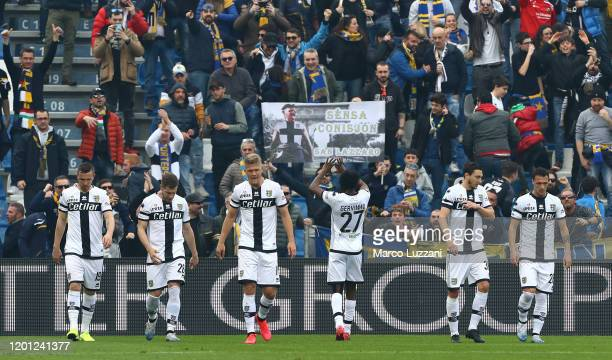 Gervinho of Parma Calcio celebrates after scoring the opening goal during the Serie A match between US Sassuolo and Parma Calcio at Mapei Stadium...