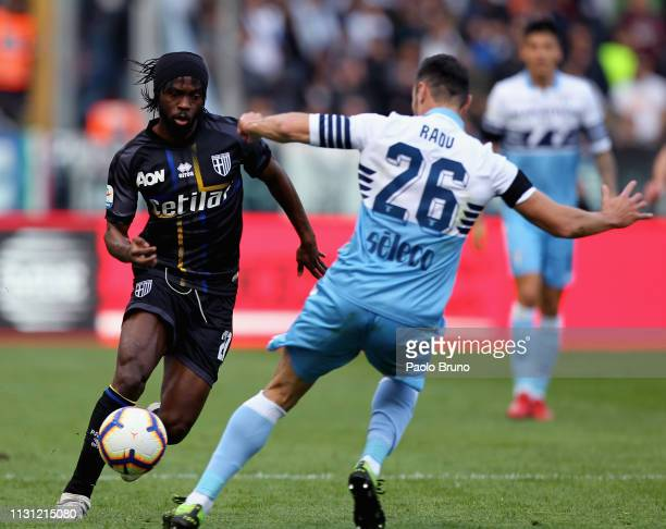 Gervinho of Parma Calcio competes for the ball with Stefan Radu of SS Lazio during the Serie A match between SS Lazio and Parma Calcio at Stadio...