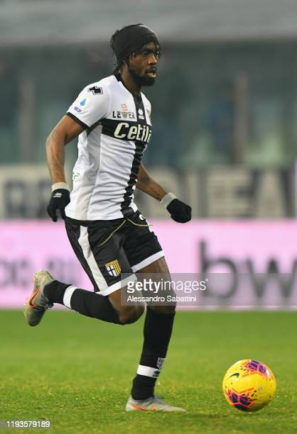 Gervinho of Parma Calcio controls the ball during the Serie A match between Parma Calcio and US Lecce at Stadio Ennio Tardini on January 13 2020 in...