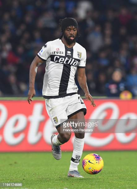 Gervinho of Parma Calcio during the Serie A match between SSC Napoli and Parma Calcio at Stadio San Paolo on December 14 2019 in Naples Italy
