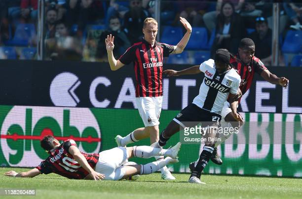 Gervinho of Parma Calcio in action during the Serie A match between Parma Calcio and AC Milan at Stadio Ennio Tardini on April 20 2019 in Parma Italy