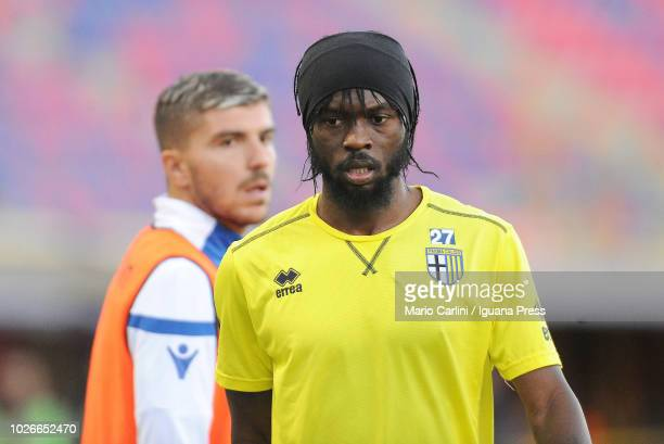 Gervinho of Parma Calcio looks on during the sideline warm up during the serie A match between SPAL and Parma Calcio at Stadio Renato Dall'Ara on...