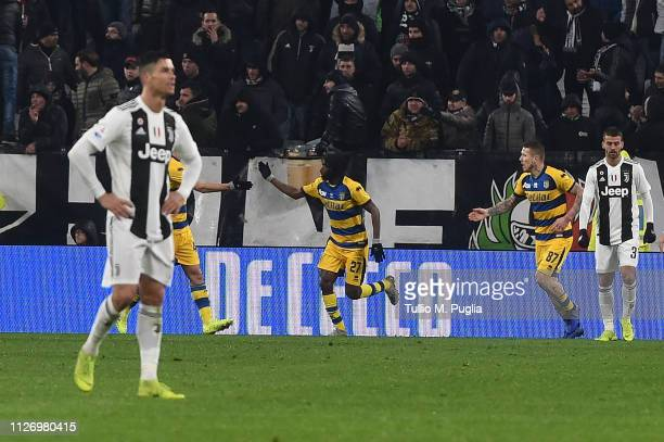 Gervinho of Parma celebrates after scoring his team's second goal during the Serie A match between Juventus and Parma Calcio at Allianz Stadium on...