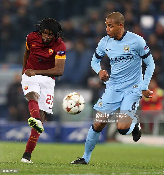 Gervinho of Roma competes for the ball with Fernando of Manchester City during the UEFA Champions League Group E match between AS Roma and Manchester...