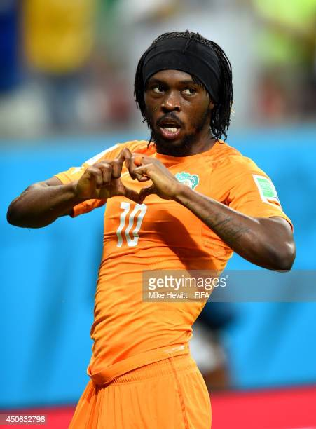 Gervinho of the Ivory Coast celebrates after scoring the team's second goal during the 2014 FIFA World Cup Brazil Group C match between Cote D'Ivoire...