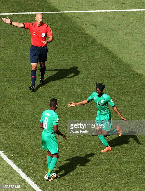 Gervinho of the Ivory Coast celebrates wtih teammate Salomon Kalou of the Ivory Coast after scoring his team's first goal during the 2014 FIFA World...