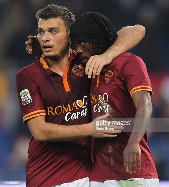 Gervinho with his teammate Adem Ljajic of AS Roma celebrates after scoring the fourth team's goal during the Serie A match between AS Roma and Calcio...