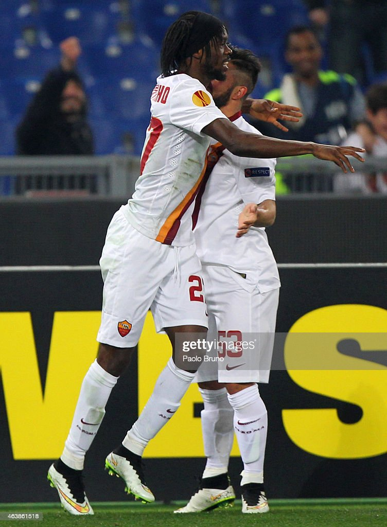 Gervinho (L) with his teammate Daniele Verde of AS Roma celebrates after scoring the opening goal during the UEFA Europa League Round of 32 match between AS Roma and Feyenoord at Olimpico Stadium on February 19, 2015 in Rome, Italy.