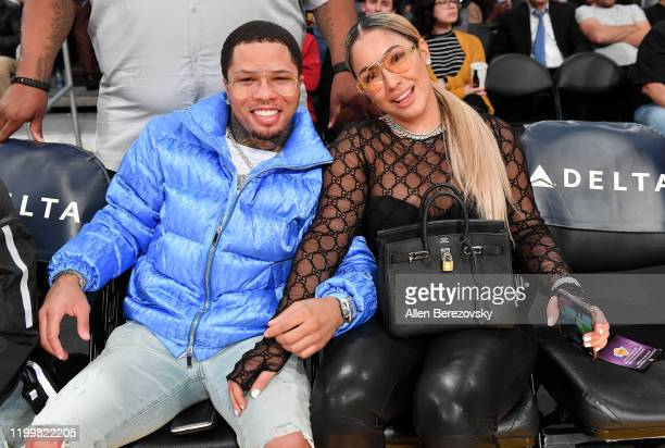 Gervonta Davis and Yaya attend a basketball game between the Los Angeles Lakers and the Orlando Magic at Staples Center on January 15, 2020 in Los...