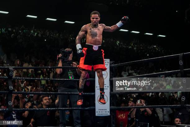 Gervonta Davis celebrates after defeating Ricardo Nunez in the second round of their WBA super featherweight championship fight at Royal Farms Arena...