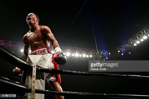 Gervonta Davis celebrates after knocking out and defeating Guillermo Avila of Mexico in their super featherweights bout at the DC Armory on April 1,...