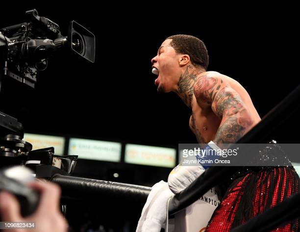 Gervonta Davis celebrates after knocking out Hugo Ruiz in the first round of their WBA Super Featherweight Championships fight at StubHub Center on...